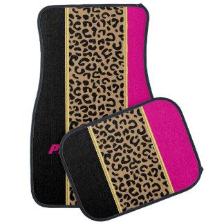 Estampado de animales del leopardo de las rosas alfombrilla de auto