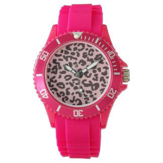 Estampado de animales del leopardo de los rosas reloj