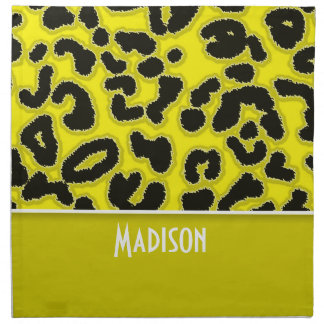 Estampado de animales del leopardo del amarillo de servilleta imprimida