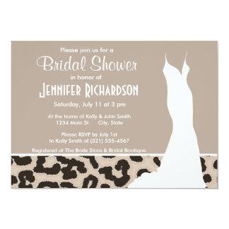 """Estampado de animales del leopardo del color de la invitación 5"""" x 7"""""""