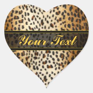 Estampado de animales del leopardo del guepardo pegatina en forma de corazón