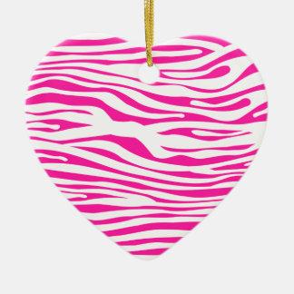 Estampado de animales del modelo de la raya de la adorno navideño de cerámica en forma de corazón