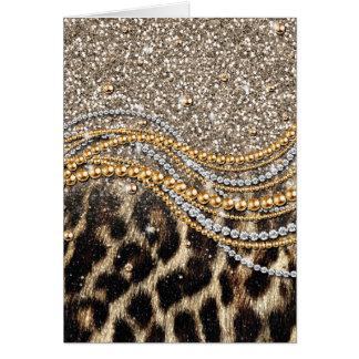 Estampado de animales femenino de moda hermoso del tarjeta de felicitación