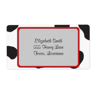 Estampado de animales (impresión) de la vaca, etiquetas de envío