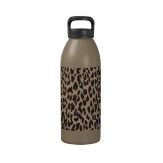 Estampado de animales, leopardo manchado - negro botellas de agua reutilizables