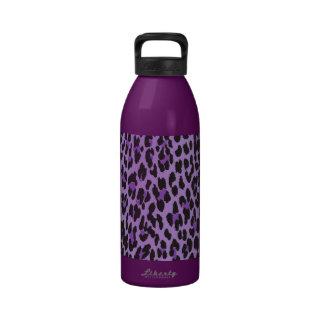 Estampado de animales, leopardo manchado - negro botallas de agua