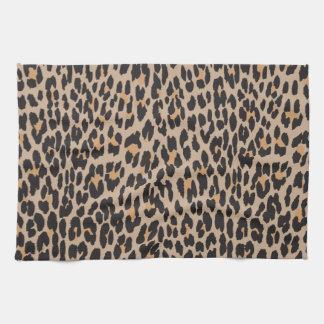 Estampado de animales, leopardo manchado - negro toalla de cocina