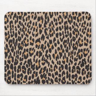 Estampado de animales, leopardo manchado - negro tapetes de ratón