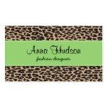 Estampado de animales, leopardo manchado - negro tarjetas de visita