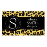 Estampado de animales, leopardo manchado - negro tarjetas de negocios