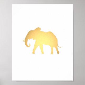 Estampado de animales lindo de la falsa del oro póster