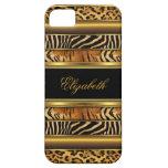 estampado de animales mezclado del oro con clase e iPhone 5 funda