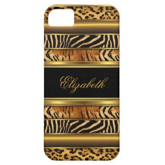 estampado de animales mezclado del oro con clase iPhone 5 funda
