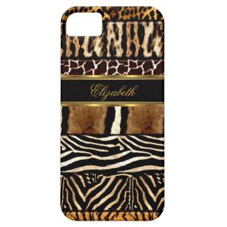 estampado de animales mezclado del oro elegante iPhone 5 fundas