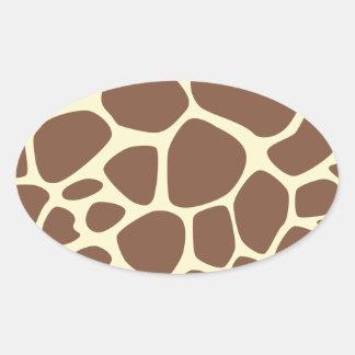Estampado de animales (modelo) de la jirafa - pegatina ovalada