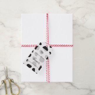 Estampado de animales, modelo de la vaca, puntos etiquetas para regalos