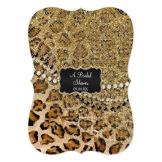 """Estampado de animales natural del leopardo del oro invitación 5"""" x 7"""""""