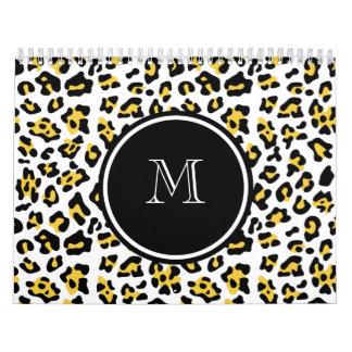 Estampado de animales negro amarillo del leopardo  calendario