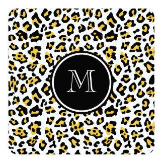 """Estampado de animales negro amarillo del leopardo invitación 5.25"""" x 5.25"""""""