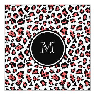 """Estampado de animales negro coralino del leopardo invitación 5.25"""" x 5.25"""""""
