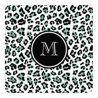 """Estampado de animales negro del leopardo de la invitación 5.25"""" x 5.25"""""""