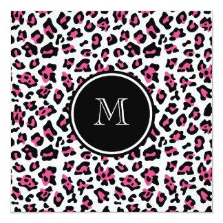 """Estampado de animales negro del leopardo de las invitación 5.25"""" x 5.25"""""""