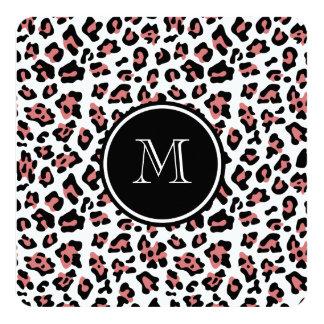 """Estampado de animales negro del leopardo del invitación 5.25"""" x 5.25"""""""