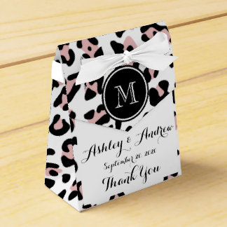 Estampado de animales negro rosado del leopardo caja para regalo de boda
