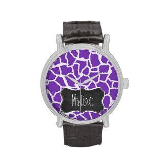 Estampado de animales púrpura de la jirafa de la u reloj de mano