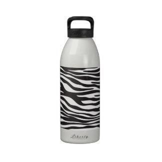Estampado de animales, rayas de la cebra - blanco botellas de agua reutilizables