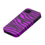 Estampado de animales, rayas de la cebra - púrpura Case-Mate iPhone 4 funda