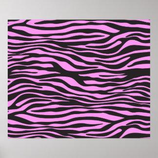 Estampado de animales, rayas de la cebra - rosa poster