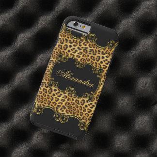Estampado de animales real 2 del negro del oro del funda de iPhone 6 tough