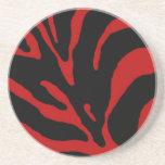 Estampado de animales rojo de la raya de la cebra posavasos diseño
