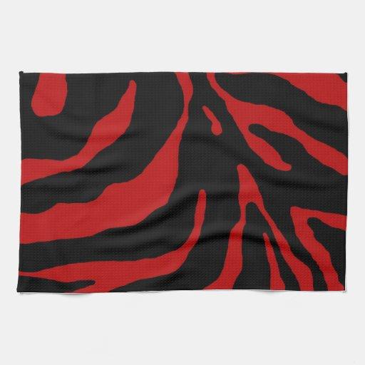 Estampado de animales rojo de la raya de la cebra toalla