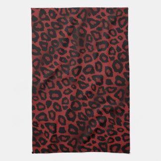 Estampado de animales rojo oscuro atractivo del toalla de cocina