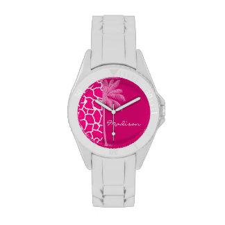 Estampado de animales rosado brillante de la jiraf relojes de pulsera