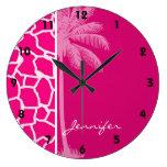 Estampado de animales rosado brillante de la jiraf relojes de pared