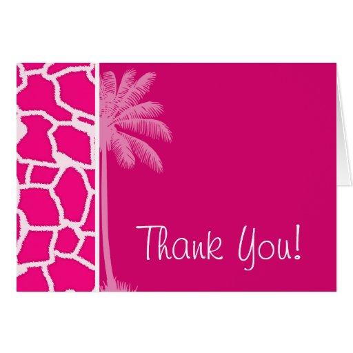 Estampado de animales rosado brillante de la jiraf tarjetas