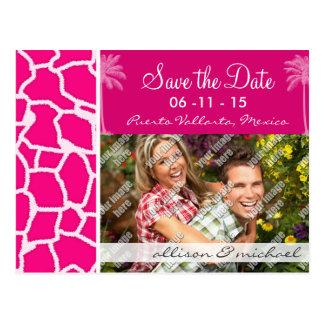 Estampado de animales rosado brillante de la jiraf tarjetas postales