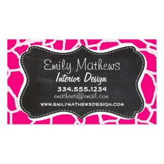 Estampado de animales rosado brillante de la tarjetas de visita