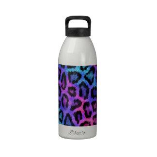 Estampado de animales rosado de neón del leopardo botella de agua