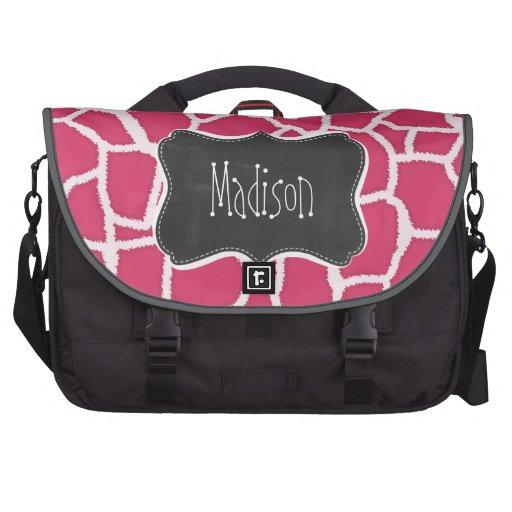 Estampado de animales rosado oscuro de la jirafa;  bolsas para portatil