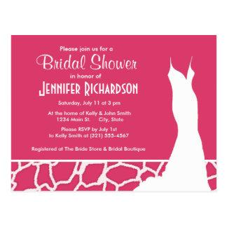 Estampado de animales rosado oscuro de la jirafa;  tarjeta postal