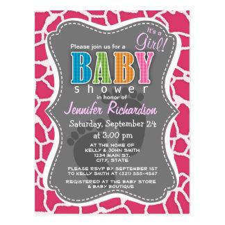 Estampado de animales rosado oscuro de la jirafa tarjeta postal