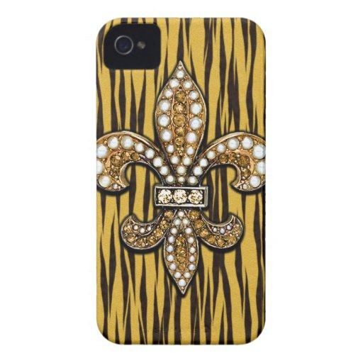 Estampado de animales Tiger Fleur Di Lis Jewel iPhone 4 Case-Mate Funda