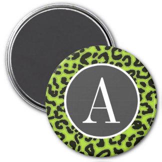 Estampado de animales verde cítrico del leopardo iman para frigorífico