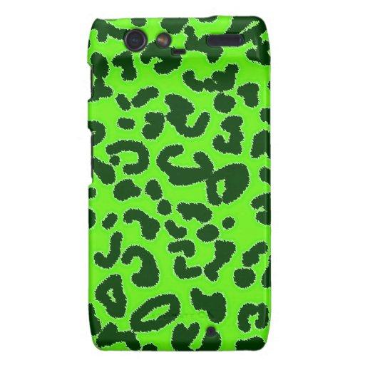 Estampado de animales verde claro del leopardo motorola droid RAZR carcasas