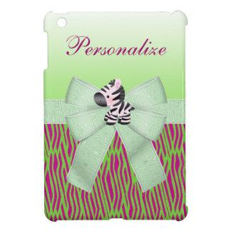 Estampado de animales verde de la cebra linda fals iPad mini coberturas