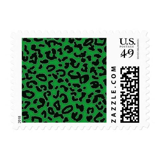 Estampado de animales verde del leopardo de Kelly Franqueo